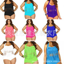 LadY womens summer Swim Tassels Dress swimwear bathing suit swimdress plus size