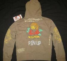 ED HARDY toddler girls 2T 4T Hollywood Pin Up olive green hoodie sweatshirt NEW