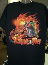 Firefighter Firehouse Biker Skeleton BLACK T-Shirt Firemen Motorcycle Fireman M