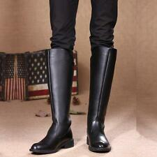 Fashion mens High Knee Equestrian Riding Army Black Boys Long Boot