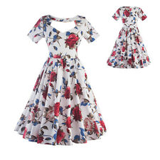 Elegant Women Casual Vintage Swing Floral Cocktail Evening Party Gown Tea Dress