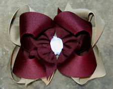 """Large 5"""" Boutique Layered Stacked Grosgrain Hair Bow Maroon Khaki School Uniform"""
