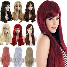 UK Cheap Price Full Head Wigs Long Straight Curly Wavy Ombre Hair Wig Halloween