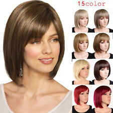 US Stock Short Straight Bangs BOB Wig Elegant Full Hair Wigs Real Heat Resistant