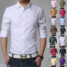 New Fashion Shirts Men's Casual Formal Long Sleeve Slim Fit Shirts Top S-XXXL