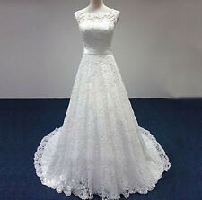 Sexy White/Ivory A-Line Lace Wedding Dress Bridal Gown Stock Size6-8-10-12-14-16