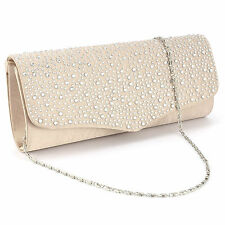 Women Evening Handbag Party Diamante Satin Bag Purse Cluth Wedding Bridal