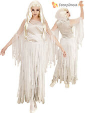 Ladies Ghostly Spirit Costume Adult Halloween Fancy Dress Womans Ghost Outfit