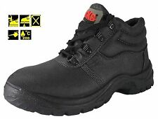 Mens Black Leather Steel Toe Cap Work Boots Size 5 to 12 UK Safety & Midsloe Bks