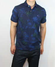 New Tommy Hilfiger Mens Custom Fit Polo T Shirt Navy Pattern
