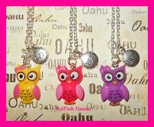 3pcs BFF Owl Mismatched Silver Plated Charm Best Friend Forever Necklaces USA