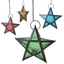 New Retro Metal Glass Star Lantern Hanging Candle Holder for Wedding Party Decor