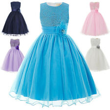 Flower Girl Princess Pageant Wedding Party Formal Birthday Kids Tulle Dress 2-12