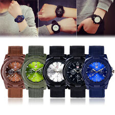 Fashion Men's Military Quartz Analog Fabric Band Sport waterproof Wrist Watch
