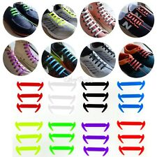 KIDS Pull Lock Anchor Type Silicon Fashion No Tie Lazy Sneakers Shoe Laces 12Pc