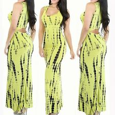 HOT Women Bodycon Long Yellow Dress Bandage Cocktail Evening Party Clubwear S-XL