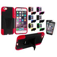 For Apple iPhone 6 (4.7) Hybrid Armor Case Stand+2X Anti Glare Screen Protector