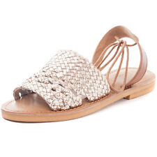 Kidderminster Flat Lace Up Leg Sling Mule Womens Sandals Gold New Shoes