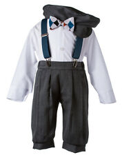 NEW Boys Charcoal Knicker Set with Teal Suspenders & Argyle Bow Tie, K900