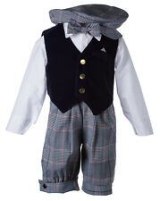 NEW Boys Holiday Knicker Set with Solid Navy Velvet Vest and Matching Bow Tie
