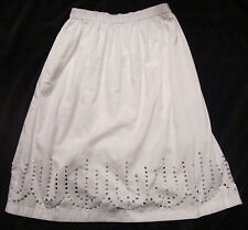 Gap NWT Womens White Circle Eyelet Full Midi Lined Skirt S L MSRP$60