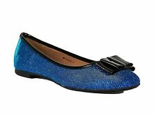 New Women Ladies Flat Heel Sparkle Pumps Shoes Bow Detail Blue Sizes 3 - 8