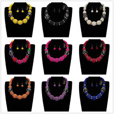 Fashion Jewelry Set Gold Ring Pearl Beads Statement Pendant Bib Necklace Earring