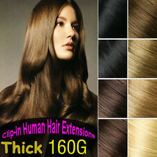 160g 8PCS Clip in Real REMY Human Hair Extension,Black,Brown,Blonde Full Head US