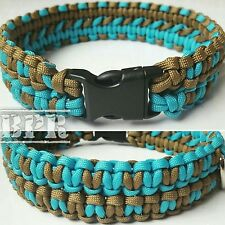 Handmade Dog Collar 550 Paracord Double Cobra Weave Dog Collar Blue & Brown