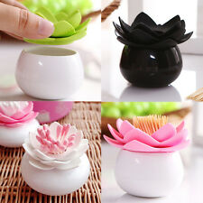 Lotus Cotton Bud Stick Swab Makeup Storage Box Holder Cosmetic Bath Decor Gift T