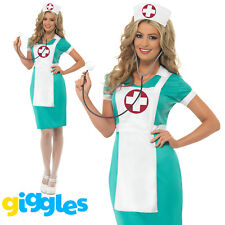 Scrubs Nurse Uniform Costume Womens Ladies Sexy Medic Doctor Fancy Dress Outfit