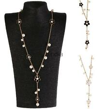 Floral Faux Pearl Pendant Long Necklace Sweater Chain Coat Chain Women Jewelry