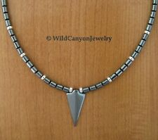 Hematite Arrowhead Pendant Necklace with hematite & sterling silver beads