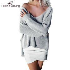 Sexy Womens Loose Long Sleeve Knit Top V-neck Pullover Sweater Irregular Jumper