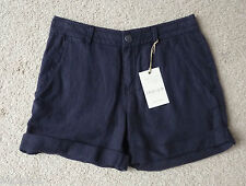 M&S Indigo Collection Size 6 Pure Linen Navy Shorts Bnwt Free Postage