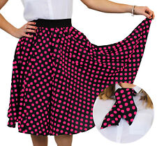 LONG BLACK POLKA DOT SKIRT WITH PINK SPOTS ADULTS FANCY DRESS ROCK N ROLL 1960S