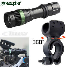 5000LM Super Bright CREE XML T6 LED Zoomable Flashlight Bicycle 360°Mount Clip