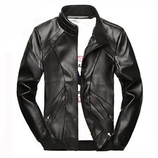 New Mens Slim Fit Leather Motorcycle Bomber Jacket Collar Jackets Top Size S-3XL