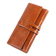 Women Oil Wax Genuine Leather Long Trifold Wallet Card Holder Case Checkbook T1