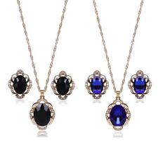 Gem Crystal Flower Pendant Chain Necklace Earring Set Rhinestone Plated Jewelry