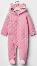 Baby Gap NWT Pink Quilted Velour Bear Footed Outerwear Romper 0-3 3-6 6-12 $45