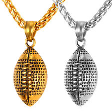 Football Pendant Necklace 18K Gold Plated Stainless Steel Novelty Men's Jewelry