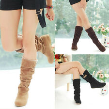 Women Girl's Flat Heels Boots Lace Cuff Slouchy Mid-Calf Faux Suede Shoes New