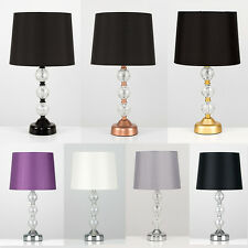 Dimmable Crackle Glass Ball Touch Bedside Table Lamp Faux Silk Shades + LED Bulb