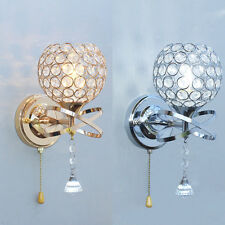 Silver/Golden Crystal LED Wall Light Lamp Fixture Sconce Fitting Bedroom Hallway