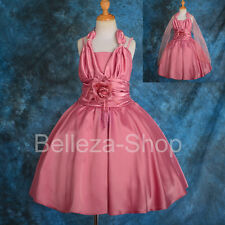 Satin Halter Dress Wedding Flower Girl Pageant Party Occasion Kid Size 5-12 #189