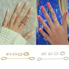 Stylish Women 6pcs /Set Rings Above Knuckle Stacking Chain Band Midi Rings