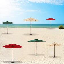 9ft Wooden Outdoor Patio Umbrella Market Yard Beach Parasol Canopy 8 Ribs F1E7