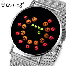 Fashion Cool Men Watch LED Watch Luxury Full Stainless Steel Binary Bangle Watch