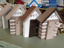 Beach Huts White  and Brown seaside shabby Bathroom Wooden ornaments  set of 3
